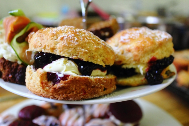 Cranberry Scones with Clotted Cream and Berry Coulis